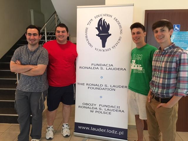 Jason BLatt, Eli Kahn, Shimmy Mandelbaum and CJ Glicksman volunteering at the Lauder Family Educational Retreat in Poland