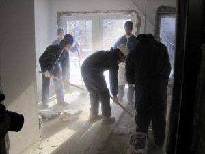 YU students help construct Kharkov's new Jewish Community Center.