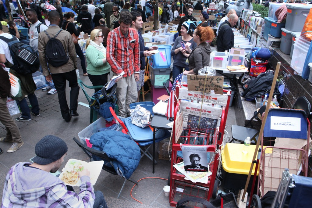 Occupy Wall Street organizers set up a makeshift library at Zuccotti Park.