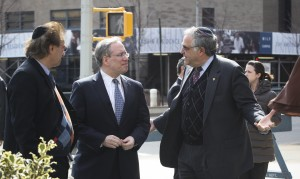 (l-r) YU Vice President Jeffrey Rosengarten, Manhattan Borough President Scott Stringer and YU President Richard M. Joel on the Streetscape pedestrian mall on 185th Street that Stringer's office helped fund on YU's Wilf campus in Washington Heights.