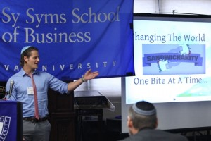 Omer Haim pitches his business plan, Sandwhicharity, at the Syms Fast-Pitch Competition.