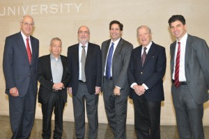 Peter Fishbein, special counsel, Kaye Scholer; Eliezer Rivlin, former Deputy President of the Supreme Court of Israel and visiting professor at Cardozo School of Law; Asher Dan Grunis, President of the Supreme Court of Israel; Dean Matthew Diller, Cardozo School of Law; Judge Jon O. Newman, United States Court of Appeals for the Second Circuit; Vice Dean Edward Stein, Cardozo School of Law