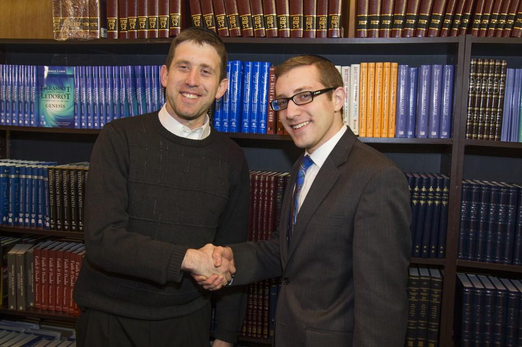 Young Israel of Oceanside's Rabbi Jonathan Muskat with Seforim Sale CEO Yehuda Kaminer