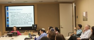 Dr. Sarah Benor, addresses Yeshiva College and Revel students.