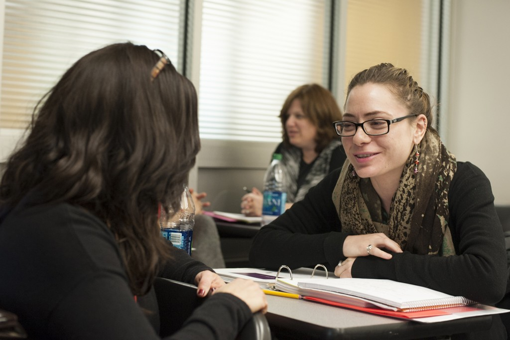 Melina Rosenberg, right, collaborates with fellow students in the certificate program.
