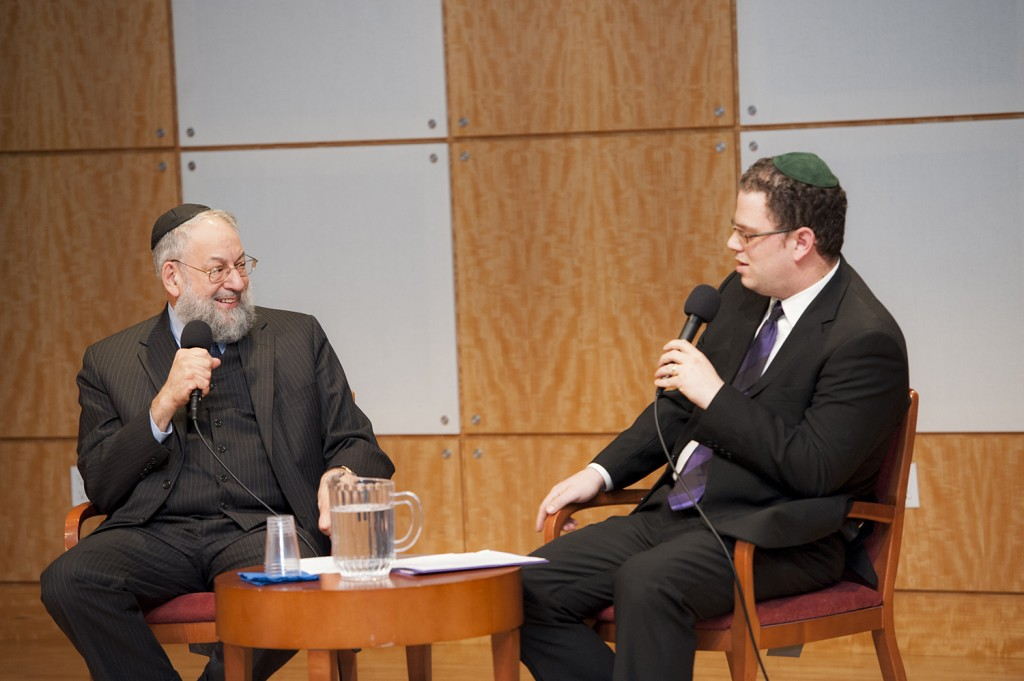 Dr. Lawrence Schiffman, left, and Dr. Alex Jassen discuss major themes in Outside the Bible.