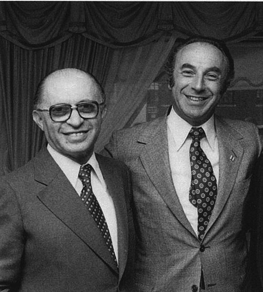 Hart Hasten, right, with Menachem Begin