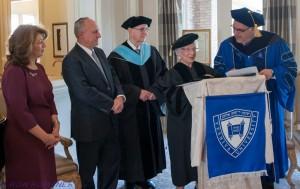 From left to right: Ruthy and Steven Rosenberg, Dr. Herbert C. Dobrinsky, Ethel Gruen and YU President Richard M. Joel