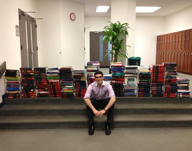Cardozo student Matthew Kriegsman helps oversee the Cardozo Law Book Loan Program, which coordinates the low-cost rental of 1,800 textbooks to qualifying students