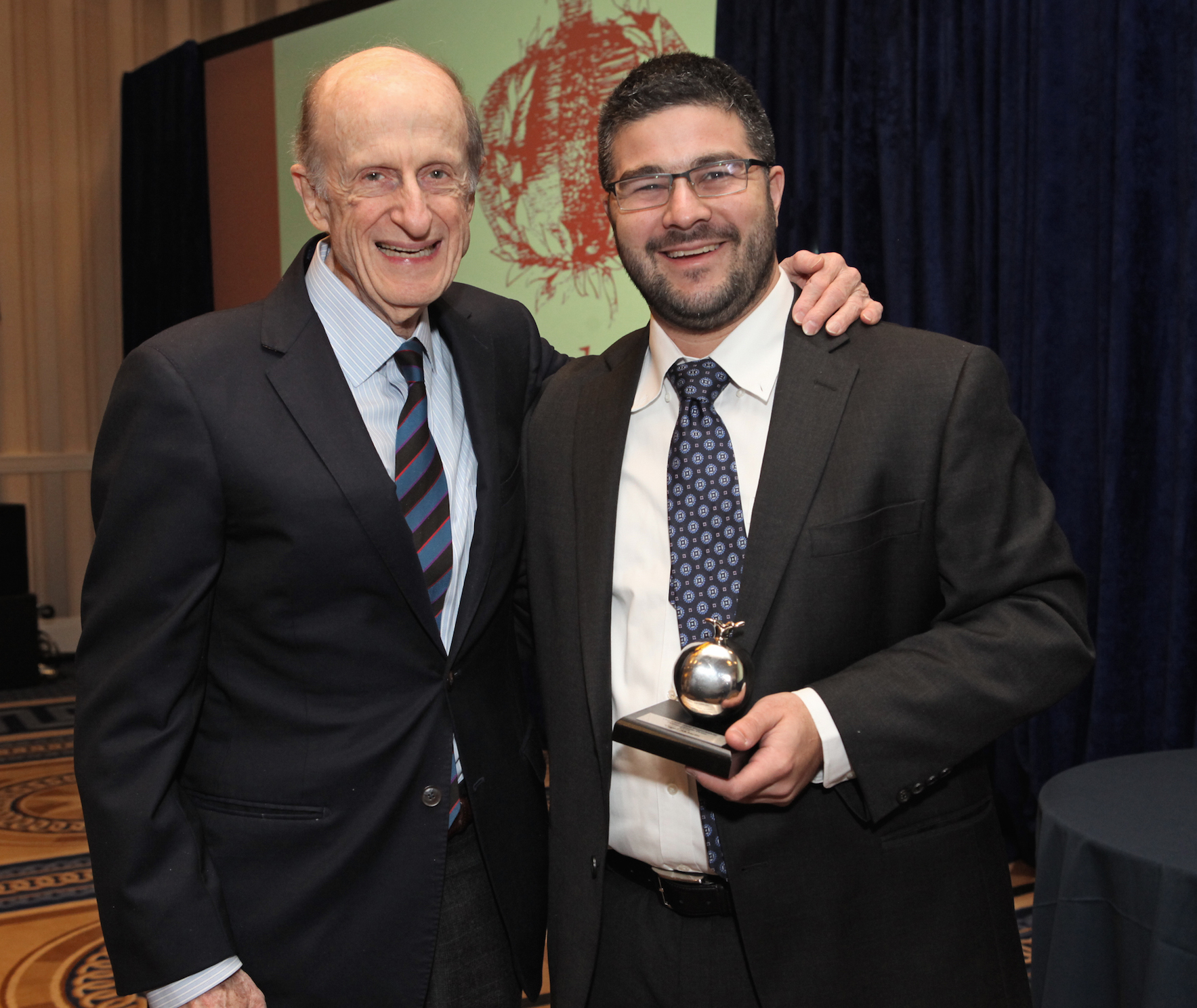 Rabbi Yigal Sklarin (right), recipient of the Pomegranate Prize, with Eli Evans, chairman of the Covenant Foundation
