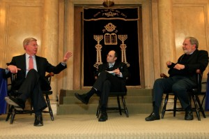 "George Will, Rabbi Meir Soloveichik and John Sexton discuss ""Baseball, Tradition, and God."""