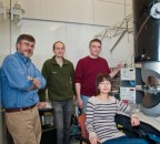 Dr. Anatoly Frenkel, second from right, and Dr. Yuanyuan Li, right, are part of a team of scientists conducting cutting-edge research on catalytic reactions.