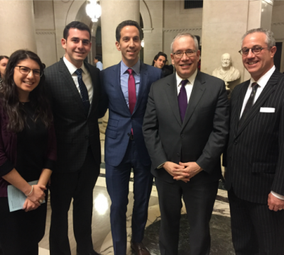 Left to right: YU students Hudy Rosenberg and x with YU Assitant Vice President for Government Affairs Philip Goldfeder, NYC Comptroller Scott Stringer and YU General Counsel Avi Lauer