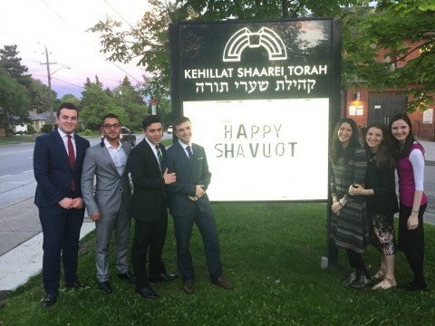 A Torah Tours delegation enhanced Shavuot celebrations in Toronto, Ontario's Kehillat Shaarei Torah.