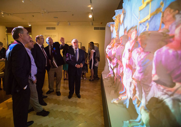 Steven Fine (second from right) explains the meaning of the Arch to Rabbi Dr. Ari Berman, President of Yeshiva University, while Jacob Wisse, director of the YU Museum (far left) looks on.