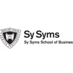 """Logo of the Sy Syms school with the words """"Sy Syms School of Business"""" and the YU shield"""