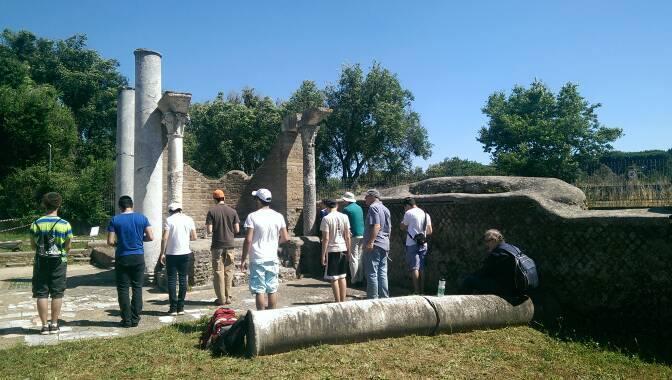 Mincha at the ruins of Ostia Antica's ancient synagogue