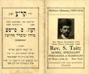 Rev. S. Taitz calendar