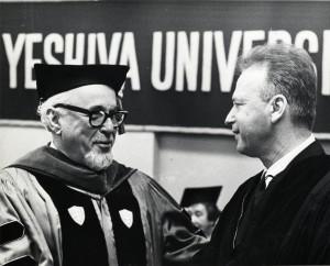 Samuel Belkin and Yitzhak Rabin at the Yeshiva University Commencement, June 13, 1968