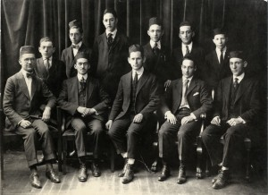 First Graduating Class of the Talmudical Academy, 1919.   Dr. Shelley Saphire, principal, is seated in the middle.