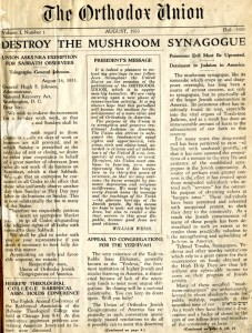 Destroy the Mushroom Synagogue--The Orthodox Union, August 1933