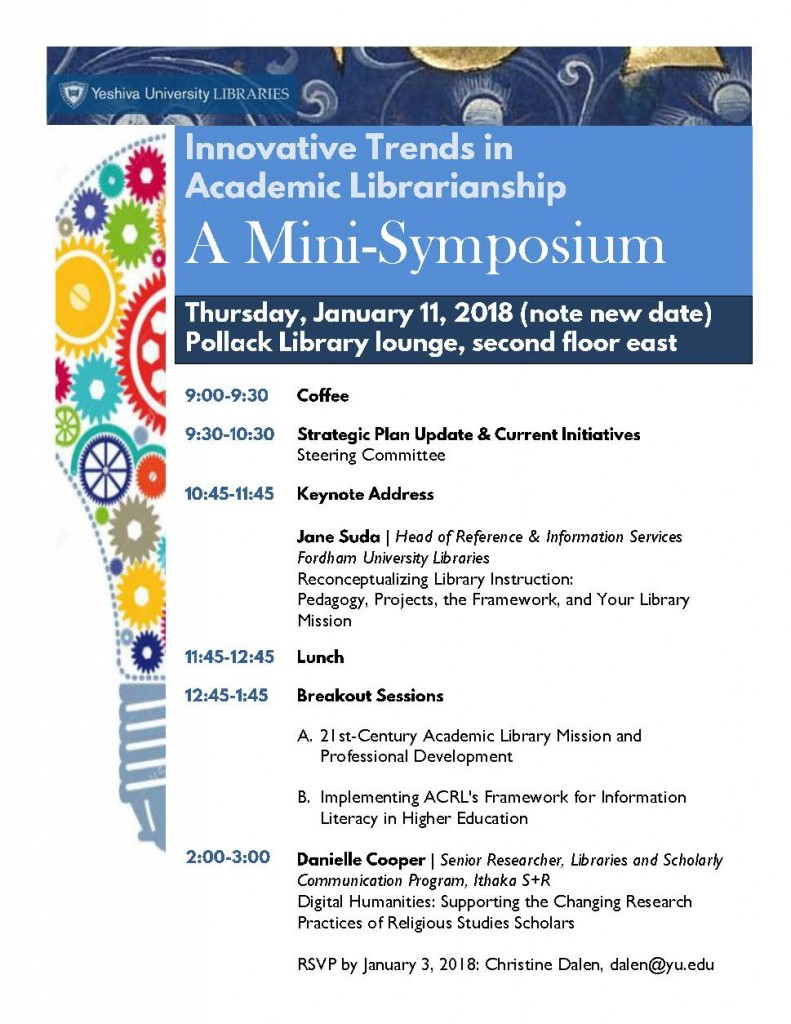 Innovative Trends in Academic Libraries--A Yeshiva University Mini-Symposium, invitation