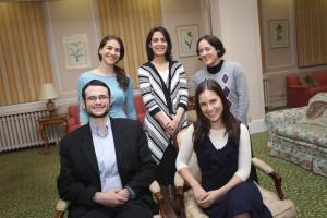 Standing: Ma'ayan Hachen, Nisim Tishbi and Aviva Gubin. Seated: Mordechai Kornbluth and Alex Michalowski.