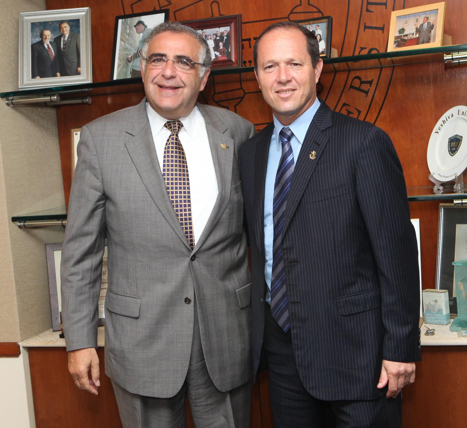 President Richard M. Joel and Jerusalem Mayor Nir Barkat at Yeshiva University