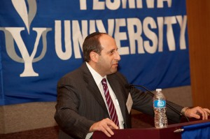 Joel Strauss, a YU graduate and partner at Kaplan Fox & Kilsheimer, helped organize the event.