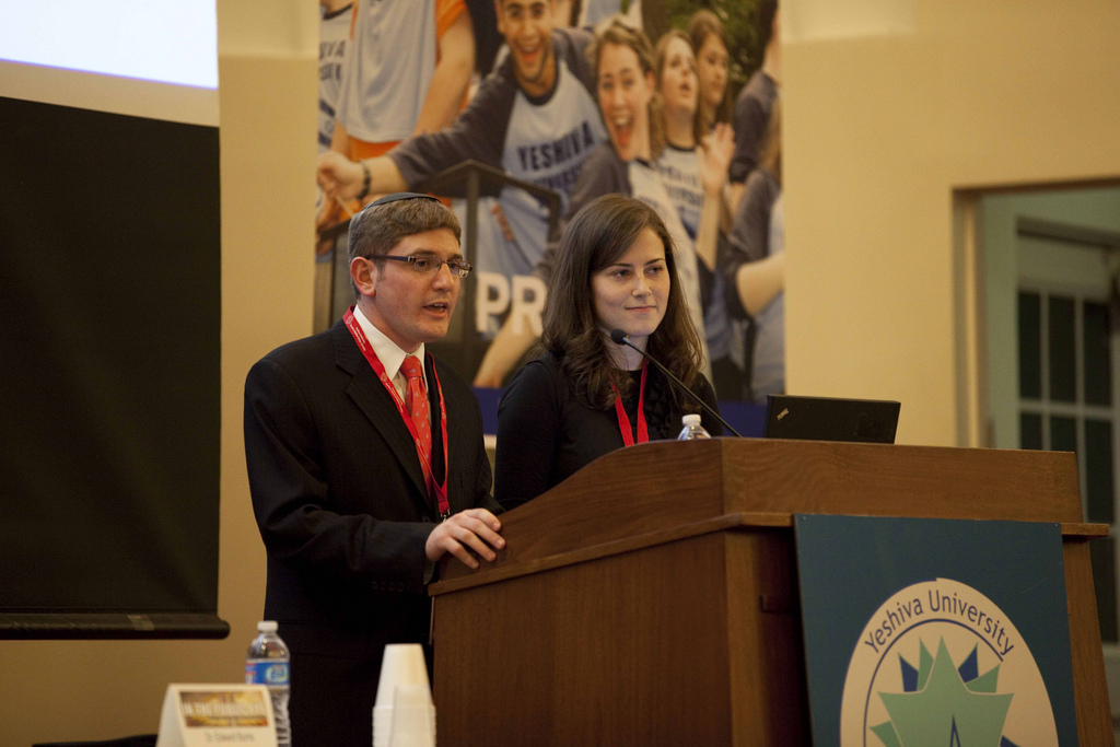 Daniel Elefant and Rachel Blinick, co-presidents of YU's Student Medical Ethics Society. offer in