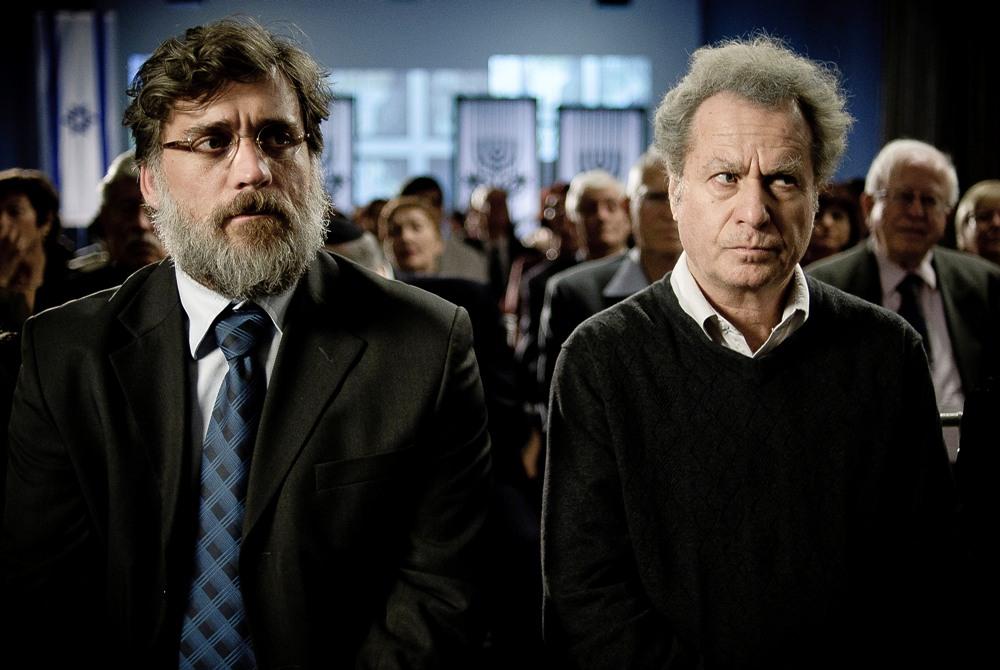 Lior Ashkenazi as Uriel Shkolnik and Shlomo Bar Aba as Eliezer Shkolnik (Ren Mendelson/Sony Pictures Classics)