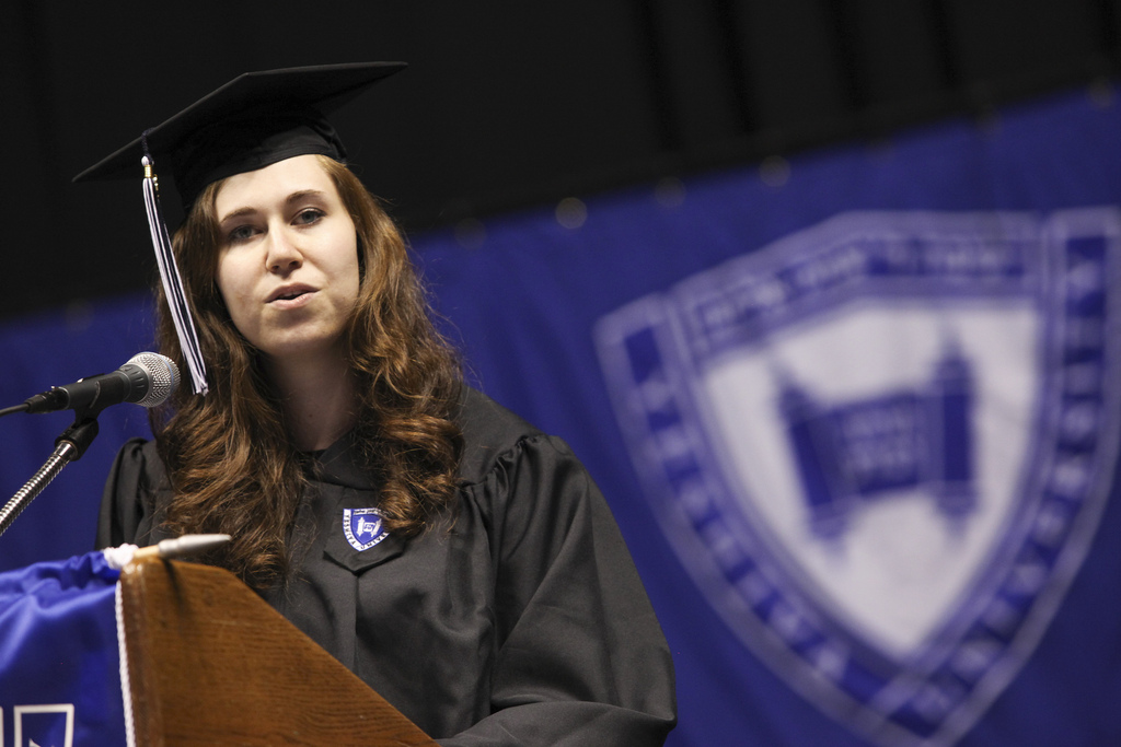 Shedlo delivers the valedictorian address at Yeshiva University's 2013 commencement.