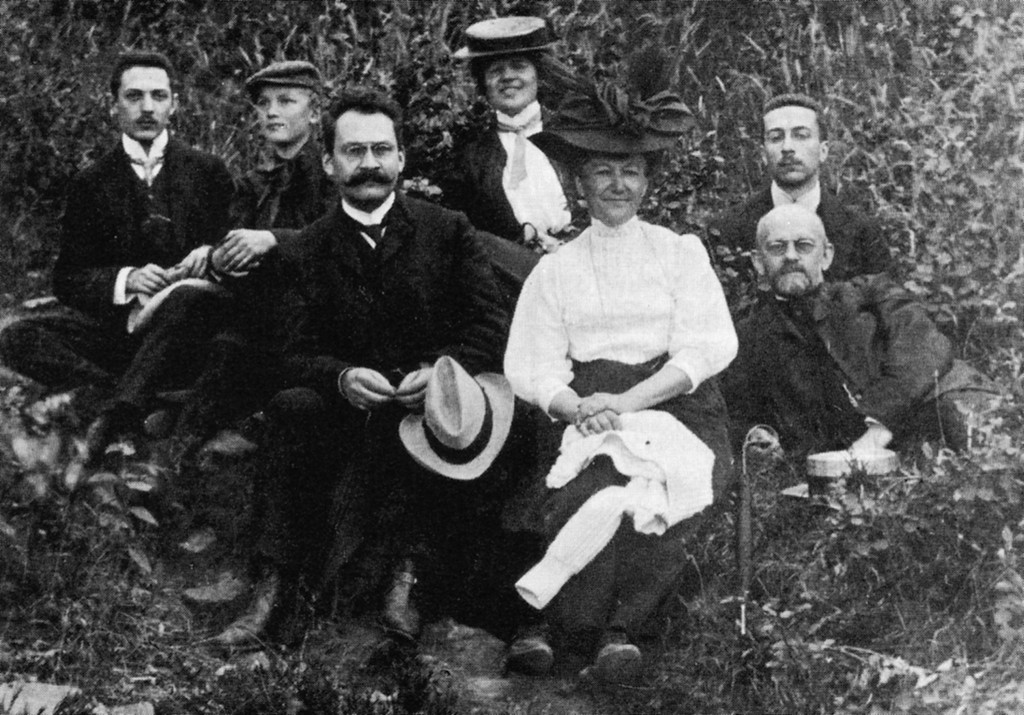 """David Hilbert with friends, students and family.  Göttingen was considered the """"Mecca"""" of mathematics in the early 20th century. The city achieved its international renown largely due to the influence of (the non-Jewish) David Hilbert and Felix Klein, aided by a large number of significant Jewish mathematicians and physicists. More than a few of Hilbert's 73 doctoral students were Jewish, including Otto Blumenthal, Max Dehn, Felix Bernstein, Ernst Hellinger, Alfréd Haar, Richard Courant, Hugo Steinhaus, and Jacob Grommer. This extremely productive period came to an abrupt end with their exclusion and expulsion after 1933."""