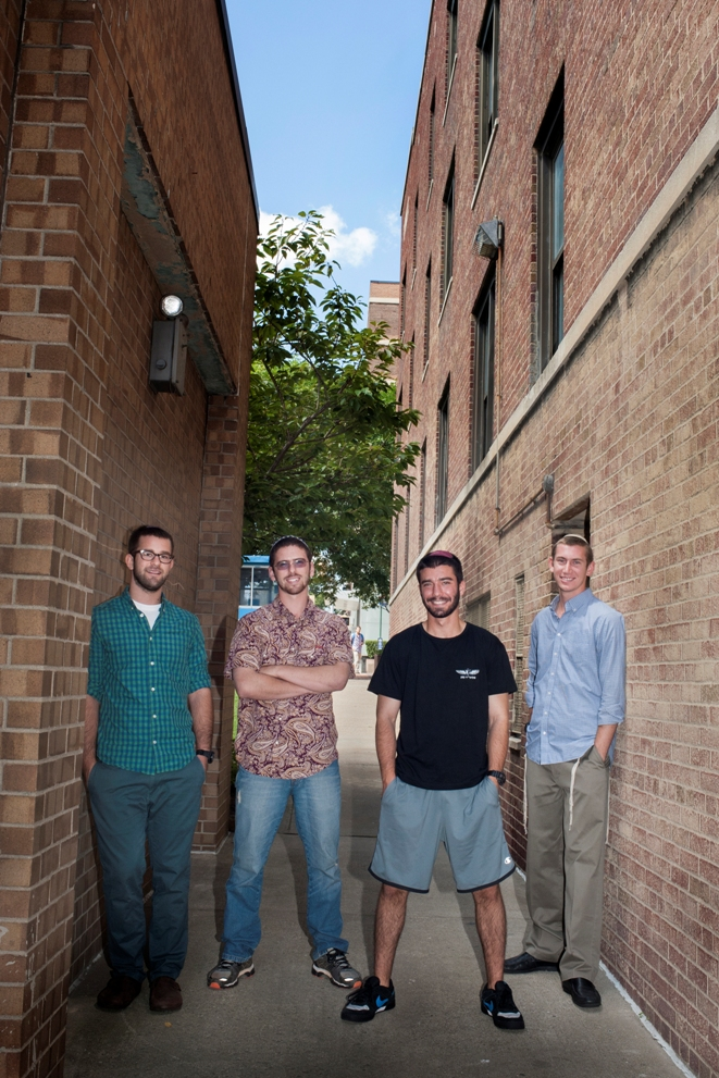 Four students who served in the IDF, Israel Defense Force, before coming to YU this fall. Ethan Gipsman, Shmuel Goldis, Daniel Gofine, and Jonathan Sidlow