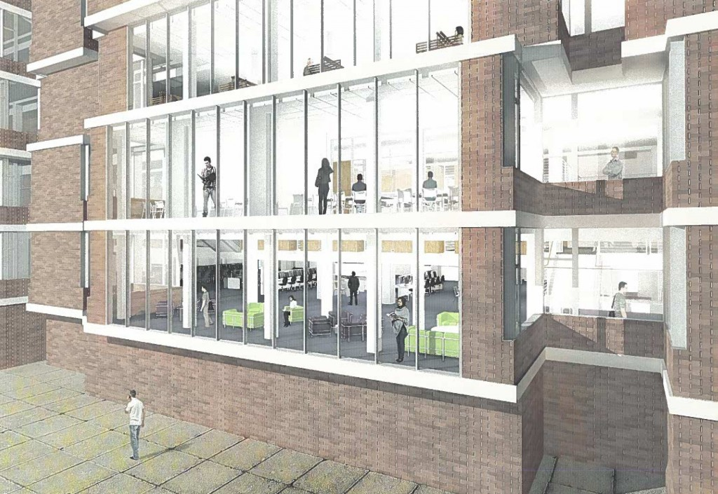The library renovations will feature new floor-to-ceiling windows