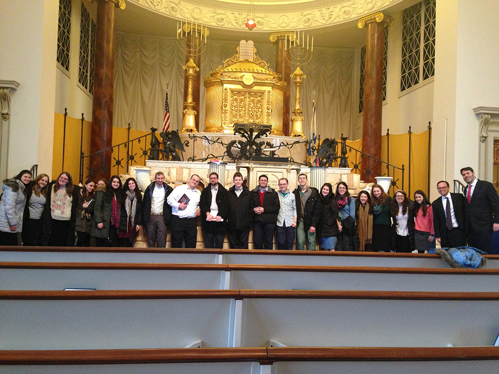 Participants on the Jewish Life Coast to Coast mission at The Temple in Atlanta, Georgia, which was bombed during the Civil Rights Movement for its rabbi's close connection with Martin Luther King Jr.
