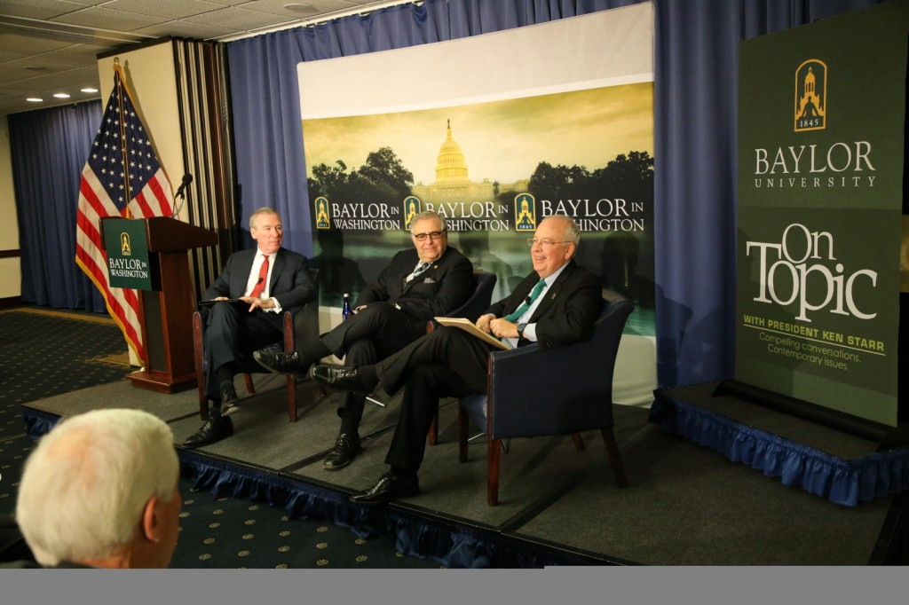 (L to R) Catholic University President John Garvey, President Joel and Baylor University President Ken Starr discussed the state of higher education and the calling of faith-based universities February 4 at the National Press Club in Washington, D.C. (Robert Rogers/Baylor Marketing and Communications)