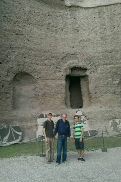 Honors Program Director Dr. Gabriel Cwilich and students at the ancient baths of Caracalla