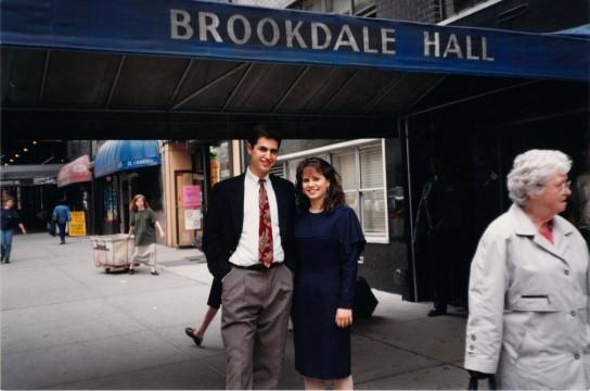 Jamin and Shana (Baks) Koslowe in front of Brookdale Residence Hall in 1993