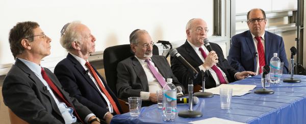 (l-r): Danny Ayalon, Joseph Lieberman, Bernard Firestone, Daniel Kurtzer and Dan Arbell