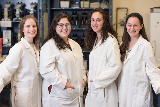 From left to right, recent Stern alumni who will pursue doctoral degrees in scientific research fields: Adina Wakschlag, Nili Greenberg, Adi Berman and Maya Tsarfati. Not pictured: Ayala Carl.