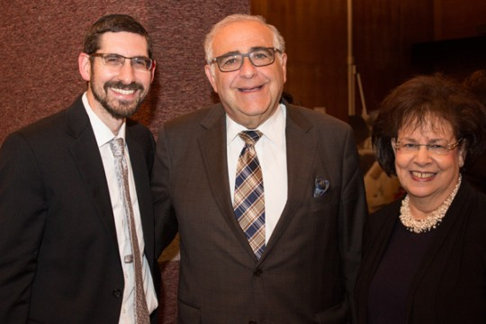 Left to right: Rabbi Yosef Kalinsky, President Richard M. Joel and Tova Rosenberg