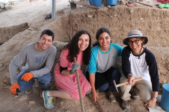 Students x, Meredith Shapiro, Y and Professor Jill Katz are excavating the Biblical city of Gath.