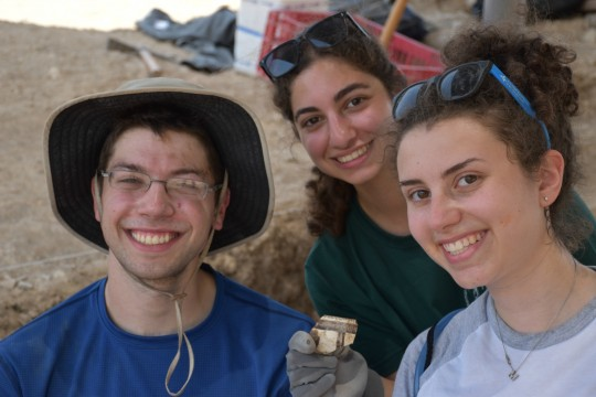 Pottery shards like this one are some of the many exciting artifacts students have found at the site.