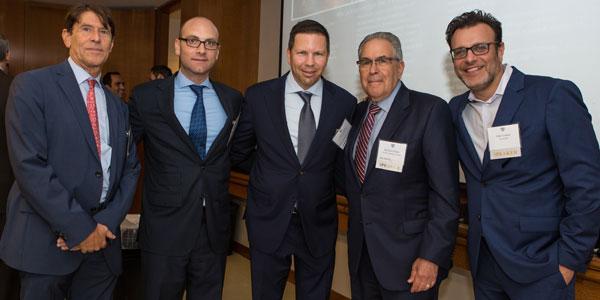 (l-r): Paul Travis (Washington Square Partners), Michael Ridloff (Vanke Holdings USA LLC), Jason Muss '93YC (Muss Development LLC), moderator Michael Stoler (The Stoler Report), and Ofer Cohen (TerraCRG)