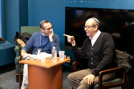 Dr. Daniel Rynhold (l) and Stephen Tobolowsky discuss faith with Honor's Program