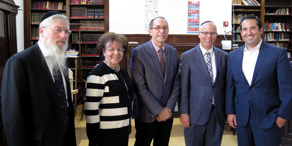 Names, Not Numbers - (l-r): Rabbi Mordechai Brownstein, English instructor; Tova Rosenberg, creator of Names, Not Numbers and director of Special Programs at Yeshiva University High Schools; Dr. Seth Taylor, principal of general dtudies at MTA; Rabbi Shalom Richter, instructor and co-ordinator of Names, Not Numbers at MTA; and Jonah Kaplan, journalist