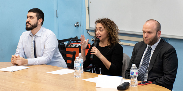 Power Politics and Leadership panel at the Marsha Stern Talmudical Academy/Yeshiva University High School for Boys
