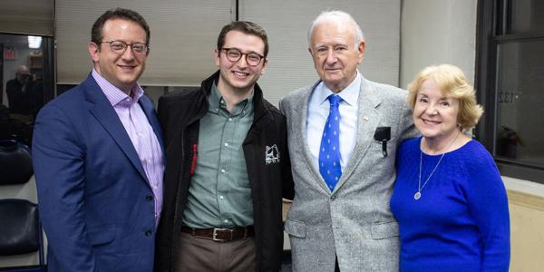(l-r): Rabbi Ari Perl (grandson); Elimelekh Perl (great-grandson); Norbert Strauss; Dorothy Strauss