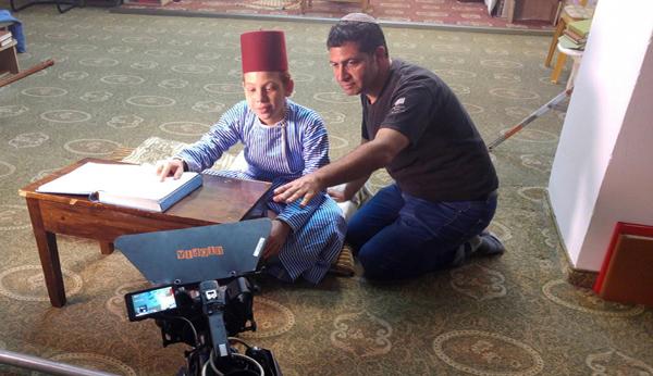 Moshe Alafi filming on Mt. Gerizim